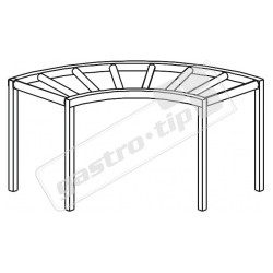 Stůl válečkový oblouk 90° s vanou a odpadem - průchozí