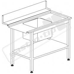 Stůl vstupní s dřezem s policí 1200 x 730 x 850 mm